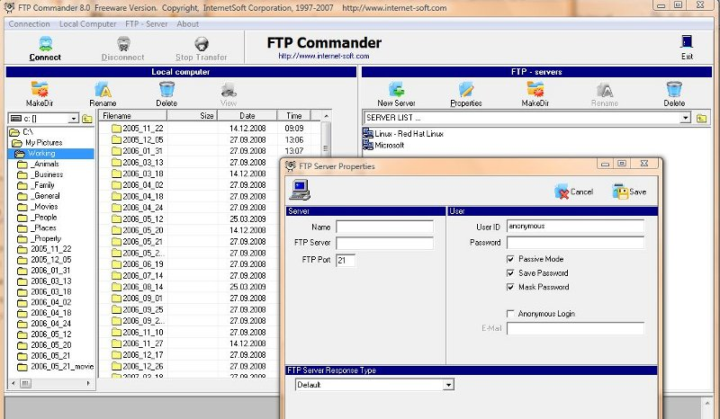 Screenshot of FTP Commander where you enter your session details