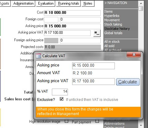 Click the image for a view of: Useful new features such as a VAT calculator