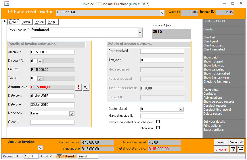 Click the image for a view of: Invoicing