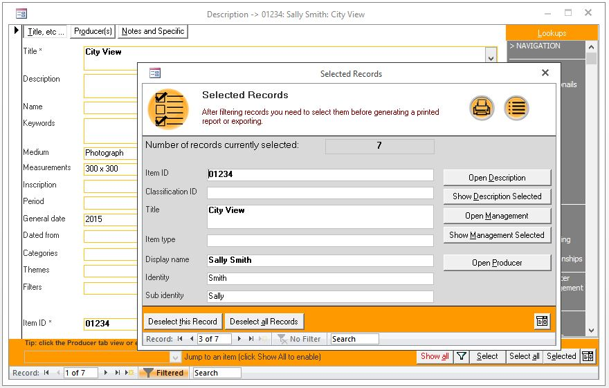 Click the image for a view of: New functionality to interact with selected records