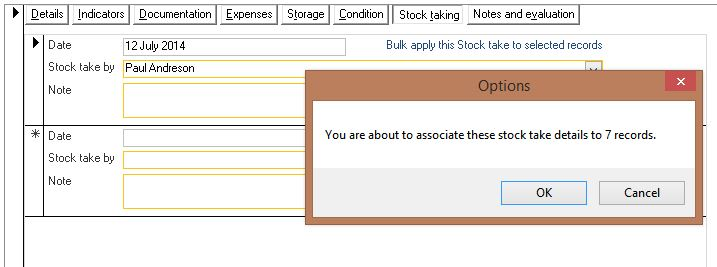 Click the image for a view of: Automatically add stock taking details