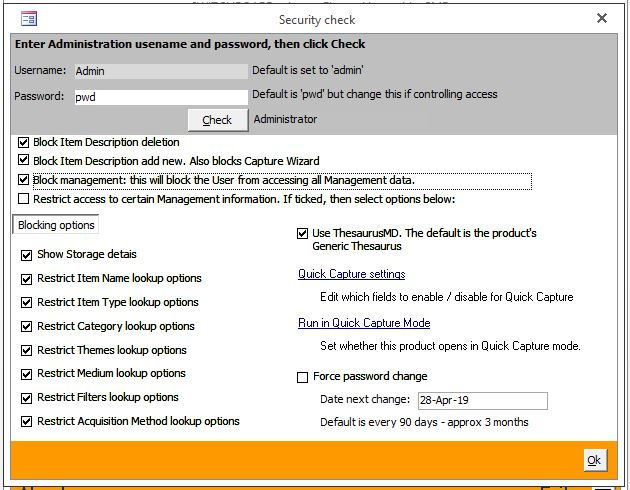 Click the image for a view of: New security form with administration options
