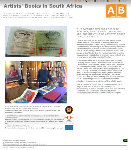 Click the image for a view of: Artists` Book home page