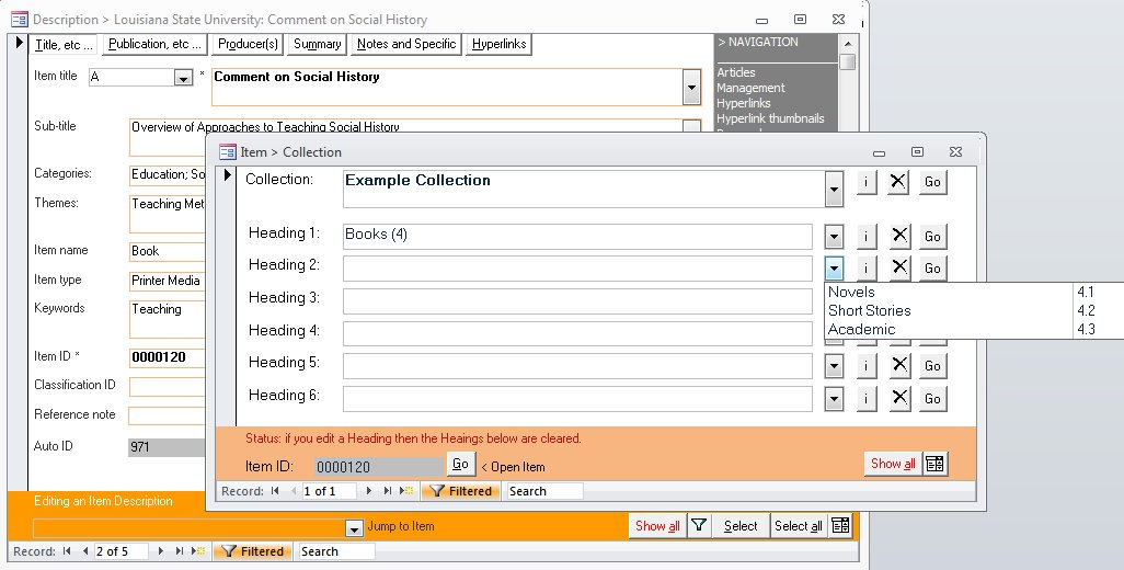 Click the image for a view of: Easily assign a Collection and various Headings to an Item